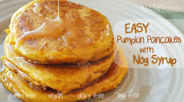 Pumpkin Pancakes with Nog Syrup