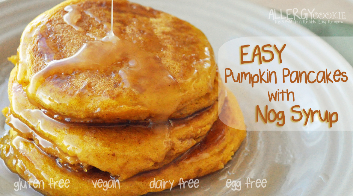 Pumpkin Pancakes with Nog Syrup (gluten free, vegan, top 8 free*)