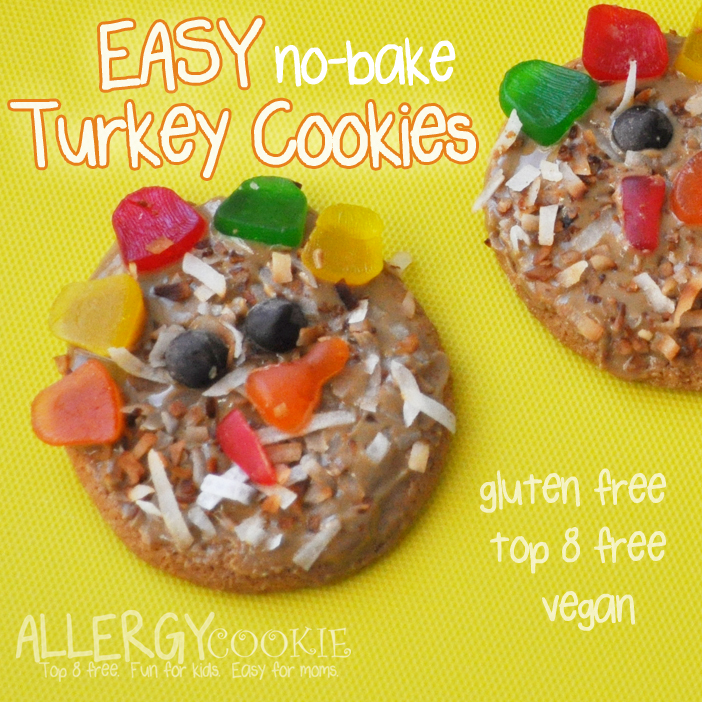 Easy No Bake Turkey Cookies (gluten free, top 8 free, vegan)